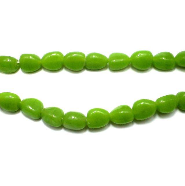5 Strings Fire Polish Tumble Beads Peridot 14x10mm