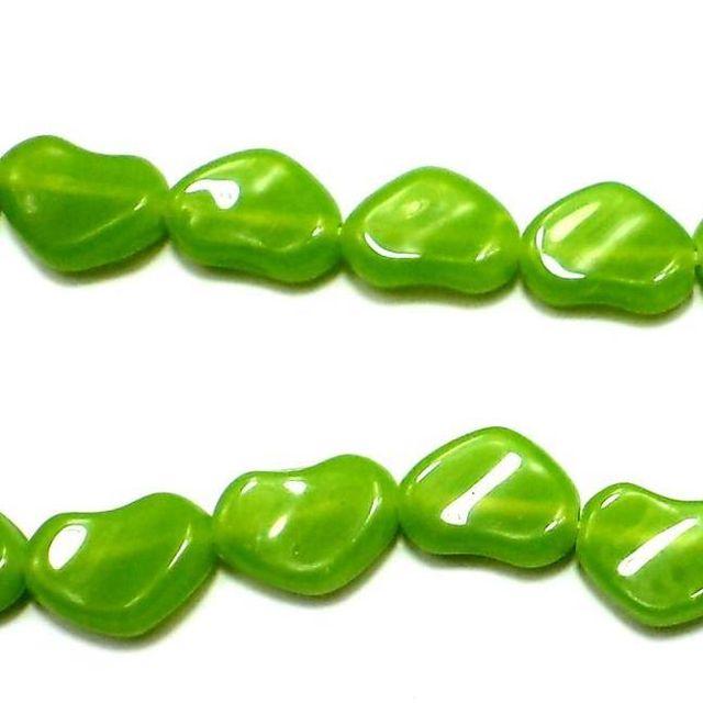 5 Strings Fire Polish Heart Beads Peridot 12x18mm