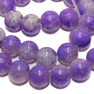 5 Strings Glass Round Beads Purple 10mm