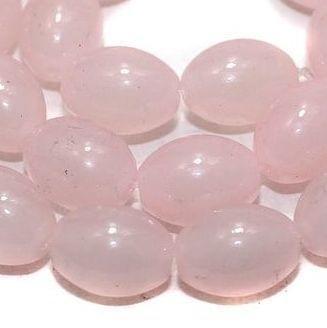 25+ Glass Beads Oval Light Pink 10x13mm