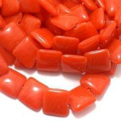 1 String Glass Square Beads Orange 15 mm