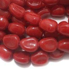 1 String Glass Tumbled Beads Red 16x12 mm