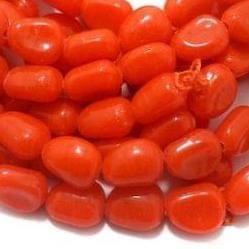 1 String Glass Tumbled Beads Orange 16x12 mm