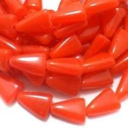 5 Strings Glass Tikona Beads Orange 15x11 mm