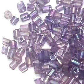 2 Cut Seed Bugles Beads Violet Rainbow (100 Gm), Size 11/0