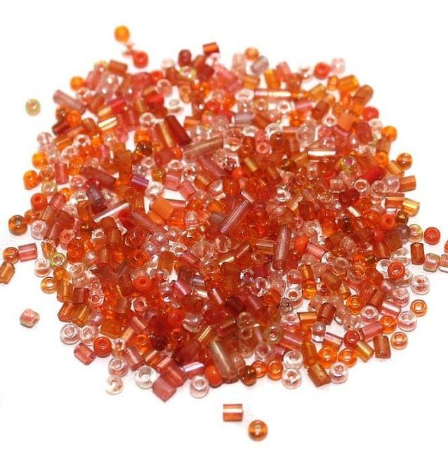 Seed Bugles Beads Orange Assorted (100 Gm), Size 11/0