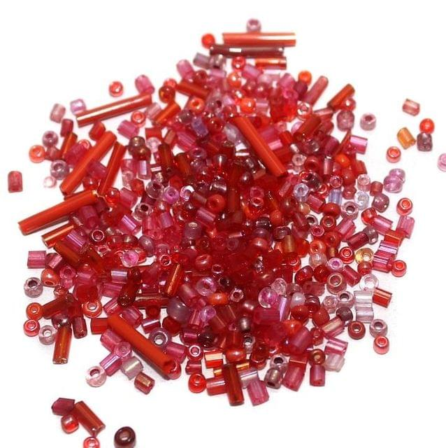 Seed Beads 2 Cut Red Assorted (100 Gm), Size 11/0
