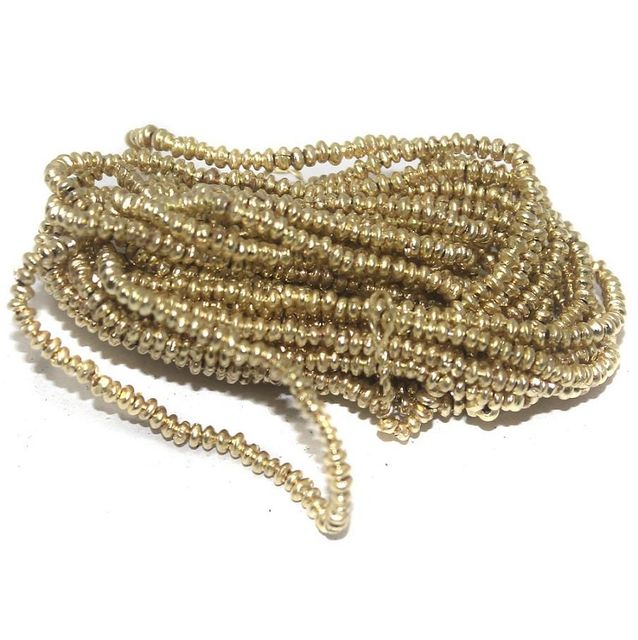 50 Gm Metal Hammered Rondelle Beads Golden 3x1 mm