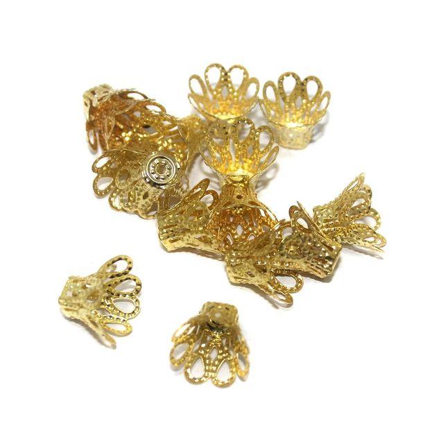 50 Golden Finish Beads Caps 6x11mm