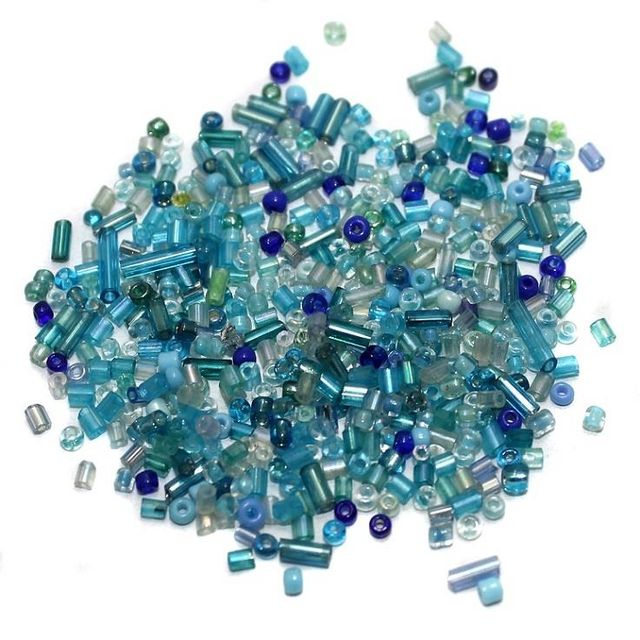 Seed Bugles Beads Turquoise Assorted (100 Gm), Size 11/0