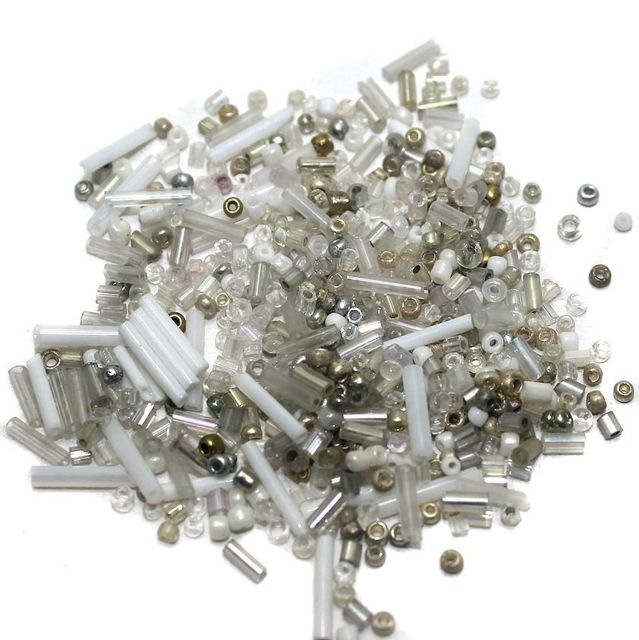 Seed Bugles Beads White Assorted (100 Gm), Size 11/0