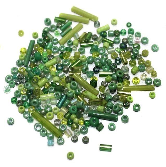 Seed Bugles Beads Green Assorted (100 Gm), Size 11/0