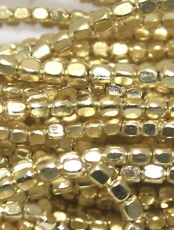 50 Gm Metal Hammered Cube Beads Golden 1 mm
