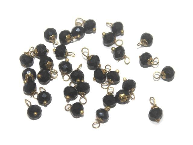 200 Faceted Loreal Beads Opaque Black 6 mm