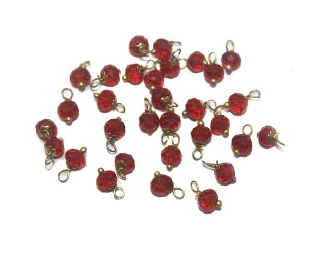 200 Faceted Loreal Beads Trans Red 6 mm