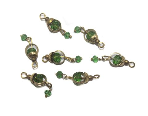 200 Faceted Loreal Ring Beads Trans Green 6 mm