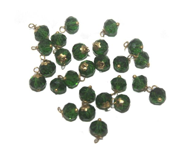 200 Faceted Loreal Beads Trans Dark Green 8 mm