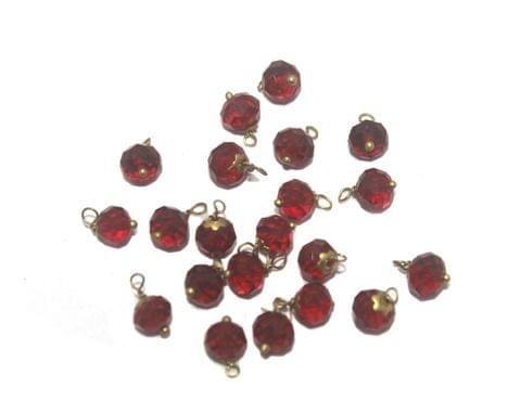 200 Faceted Loreal Beads Trans Red 8 mm