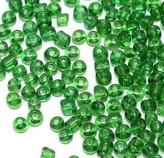 Seed Bugles Beads Green Trans (100 Gm), Size 11/0