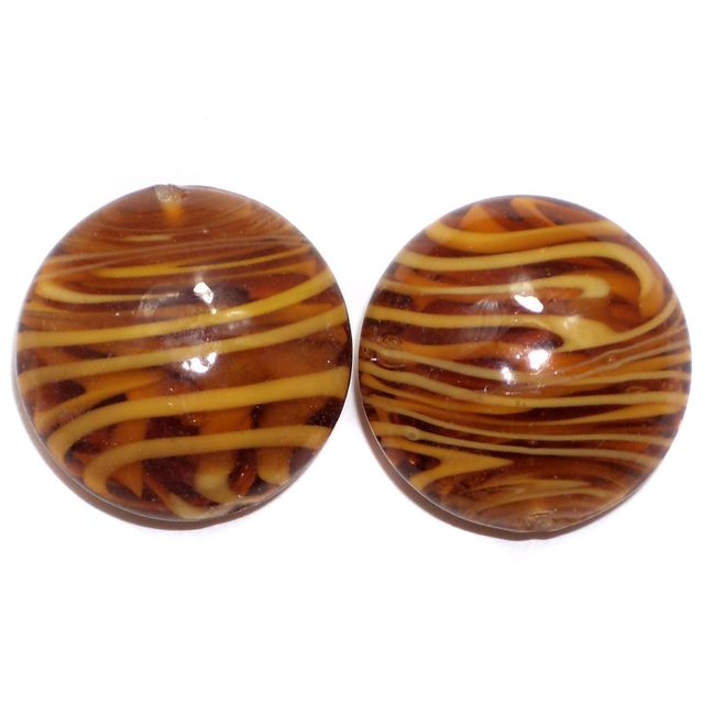 2 Lampwork Flat Coin Beads Brown 22x15