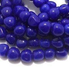 1 String Glass Tumbled Beads Blue 10 mm