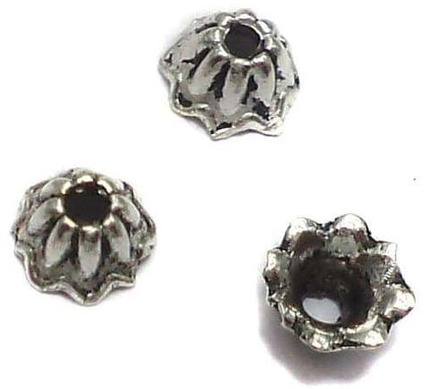 50 German Silver Beads Caps 3x6mm