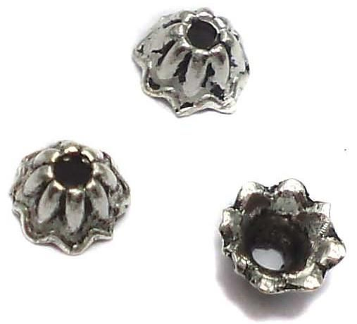120 German Silver Beads Caps 3x6mm