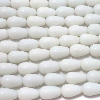 10 Strings Of 15 Inch Glass Drop Beads Opaque White 13x8 mm