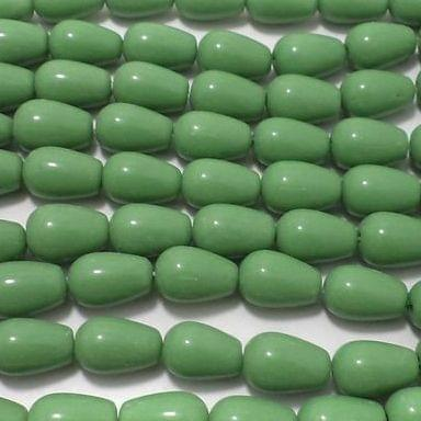 5 Strings Drop Beads Opaque Green 13x8 mm