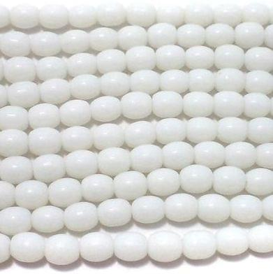 5 Glass Oval Beads Opaque White 7x6 mm