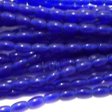 12 Strings Of 15 Inch Glass Oval Beads Trans Blue 7x4 mm