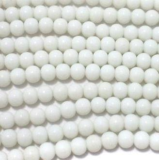 5 Strings Glass Round Beads Opaque White 6 mm