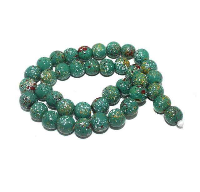 35+ Hand Printed Wooden Round Beads Green 12mm