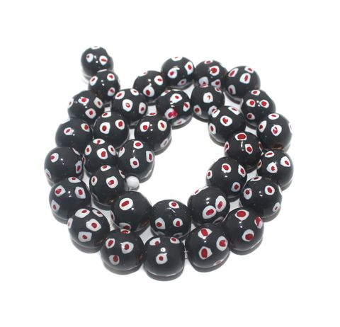 30+ Hand Printed Wooden Round Beads Black 14mm