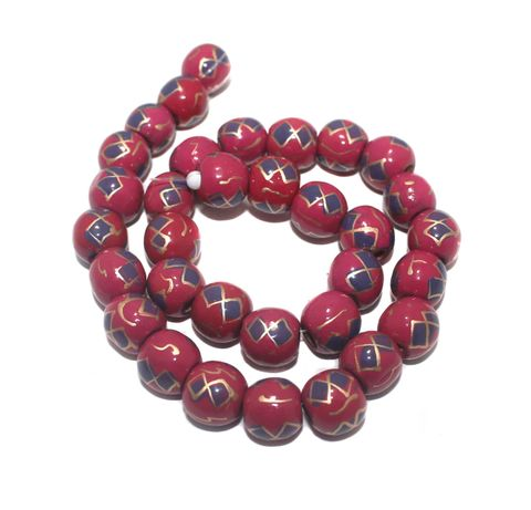 35+ Hand Printed Wooden Round Beads Magenta 12mm