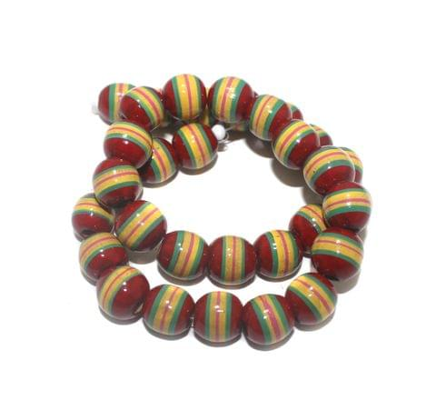 30+ Hand Printed Wooden Round Beads Red 14mm