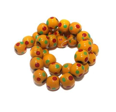 30+ Hand Printed Wooden Round Beads Yellow 14mm