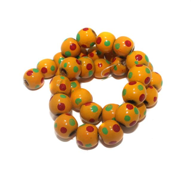 30+ Hand Printed Wooden Round Beads Yellow 14mm