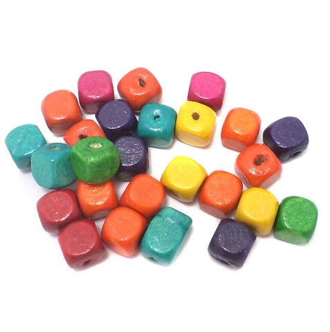 240+ Wooden Cube Beads Assorted 7mm