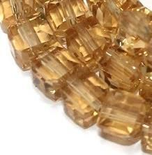 65+ Crystal Faceted Cube Beads Trans Topaz 6mm