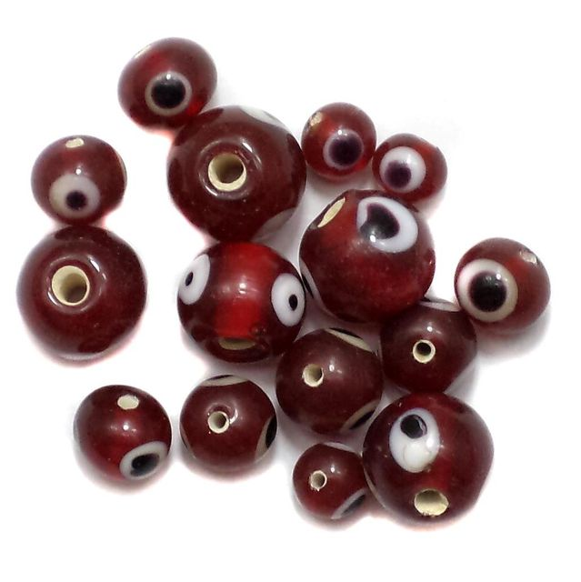 250+ Evil Eye Round Beads Red 4-8mm
