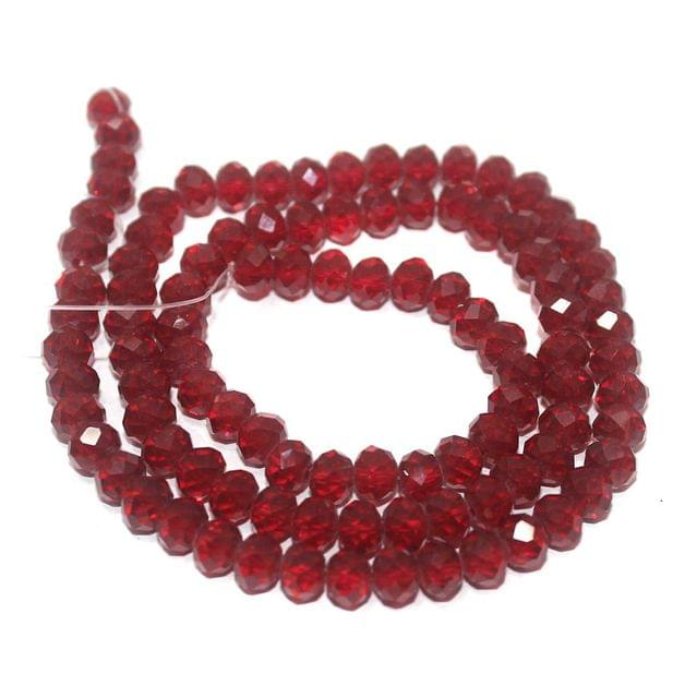 100+ Crystal Faceted Rondelle Beads Trans Red 6x4mm