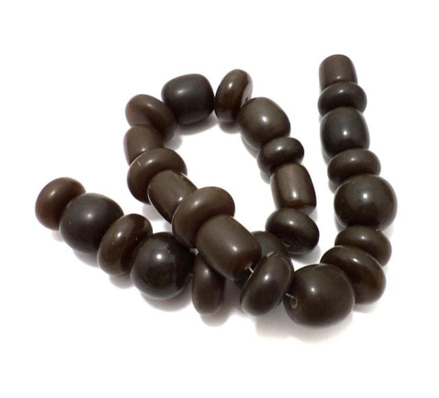 25 Resin Beads Assorted Shapes Brown 10-20 mm