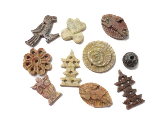 16 Pcs. Soap Stone Beads Assorted