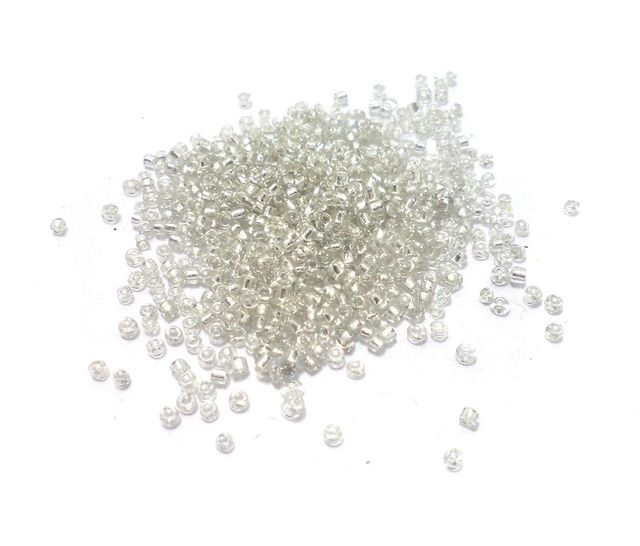 100 Gm Seed Beads Silver Line White, Size 11/0