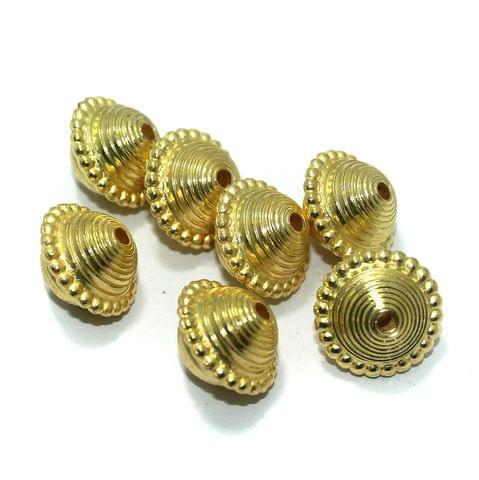 50 Pcs. Silk Thread Jewellery Making Acrylic Rondelle Beads Golden, Size 18x14 mm