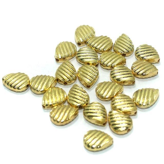200 Pcs. Silk Thread Jewellery Making Acrylic Flat Drop Beads Golden, Size 15x12 mm