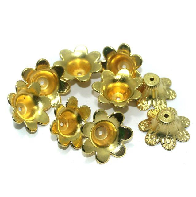 50 Pcs. Silk Thread Jewellery Making Acrylic Bead Caps Golden, Size 25x9 mm