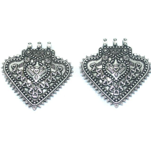 10 Pcs. German Silver Pendant, Size-56x51mm