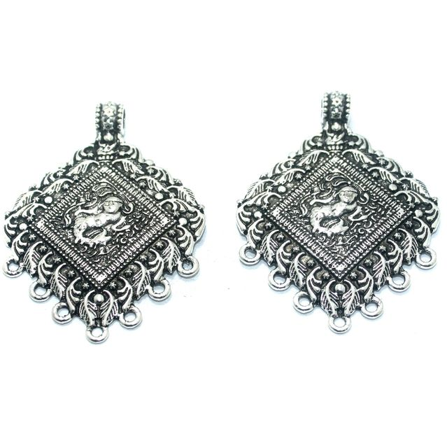 2 Pcs. German Silver Pendant , Size-62x47mm
